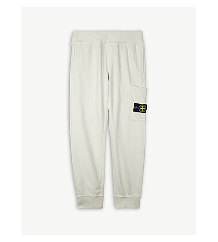 STONE ISLAND Logo patch cotton jogging bottoms 4-14 years (Ice