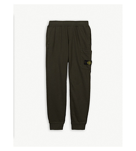 STONE ISLAND Logo patch cotton jogging bottoms 4-14 years (Khaki