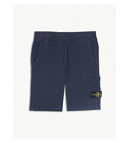 STONE ISLAND Logo patch cotton jersey shorts 4-14 years (Blue+marine