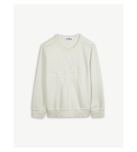 STONE ISLAND Embroid dial logo cotton sweatshirt 4-14 years (Ice