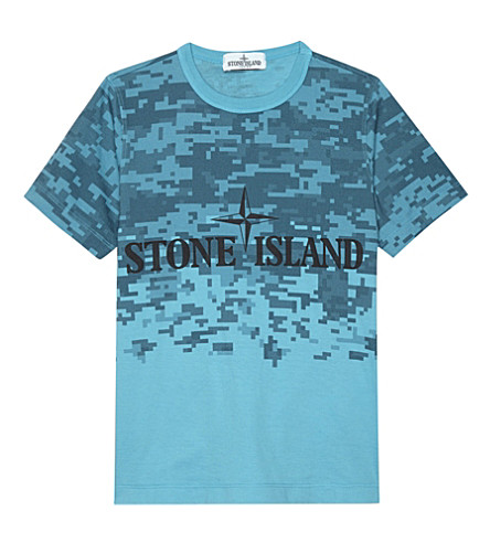 STONE ISLAND Pixel print cotton T-shirt 4-14 years (Blue