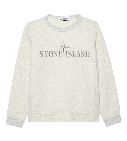 STONE ISLAND Logo front cotton-blend jumper (Grey