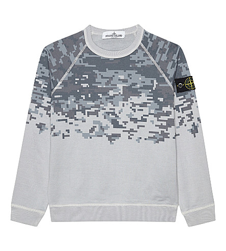 STONE ISLAND Pixel print cotton jumper 4-14 years (Grey