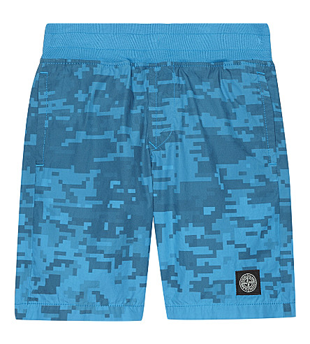 STONE ISLAND Pixel print cotton shorts 4-14 years (Blue