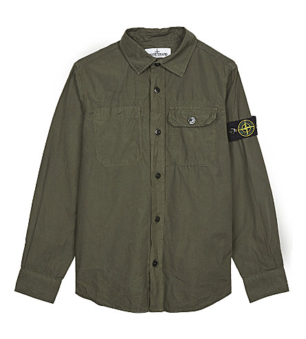 STONE ISLAND Compass patch cotton shirt 4-14 years (Military+green