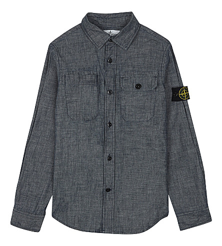 STONE ISLAND Washed denim shirt 4-14 years (Lavato+(washed)