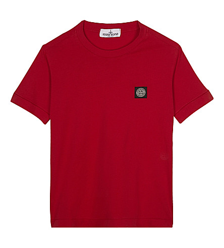 STONE ISLAND Logo cotton T-shirt 4-14 years (Red