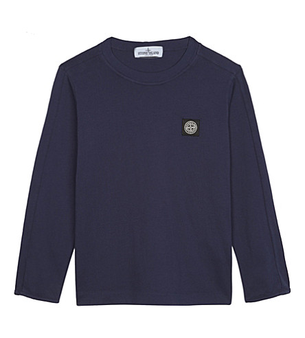 STONE ISLAND Logo patch cotton t-shirt 4-14 years (Blue+marine