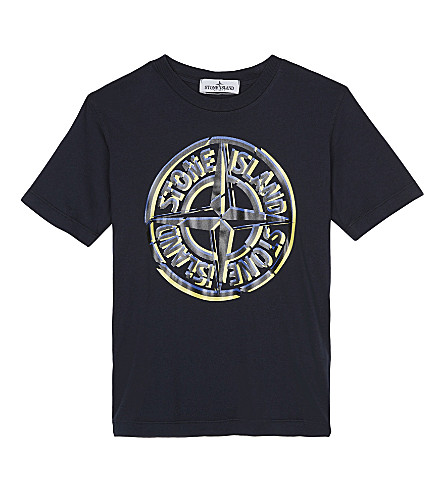 STONE ISLAND Logo cotton t-shirt 4-14 years (Navy+blue