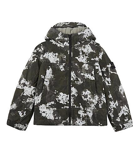 STONE ISLAND Printed hooded jacket 4-14 years (Pearl+grey