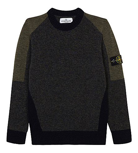 STONE ISLAND Knitted crew neck jumper 4-14 years (Military+green