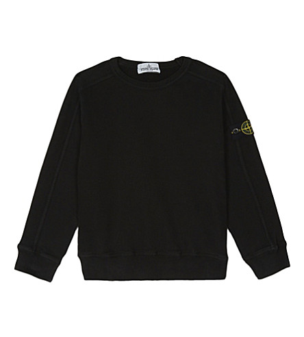 STONE ISLAND Branded cotton jumper 4-14 years (Black