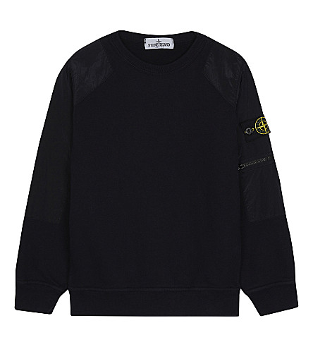 STONE ISLAND Logo patch cotton jumper 4-14 years (Navy+blue