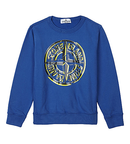 STONE ISLAND Logo print cotton sweatshirt 4-14 years (Bright+blue