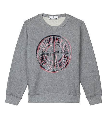 STONE ISLAND Logo print cotton sweatshirt 4-14 years (Dust