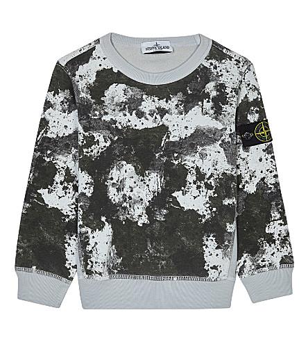 STONE ISLAND Printed cotton sweatshirt 4-14 years (Pearl+grey