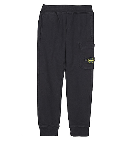 STONE ISLAND Fleece cotton jogging bottoms 4-14 years (Navy+blue