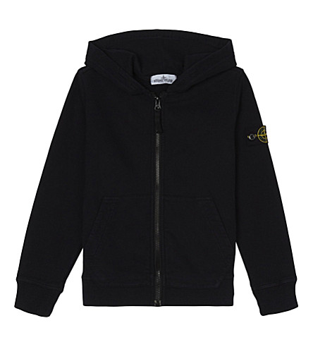 STONE ISLAND Zipped cotton hoody 4-14 years (Navy+blue