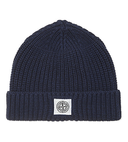 STONE ISLAND Logo knitted cotton beanie 14-16 years (Blue+marine
