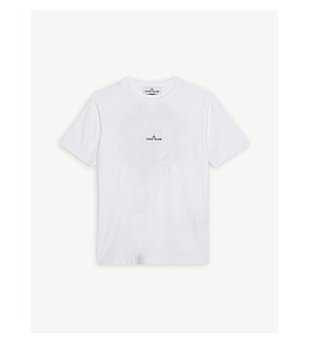 STONE ISLAND Logo cotton T-shirt 4-14 years (White
