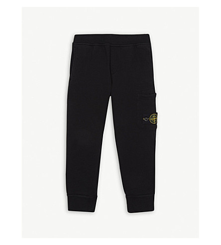 STONE ISLAND Logo cotton jogging bottoms 4-14 years (Black