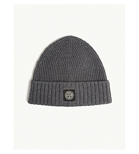 STONE ISLAND 带罗纹毛线帽 (灰色