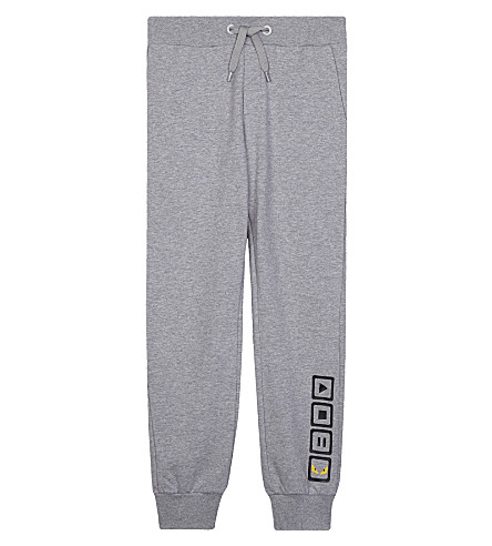 FENDI Play-stop-pause print cotton jogging bottoms 4-14 years (Grey