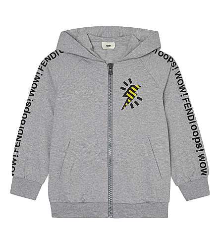 FENDI Zipped lightining print cotton hoody 4-12 years (Grey