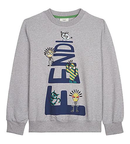 FENDI Cartoon cotton sweatshirt 4-14 years (Grey