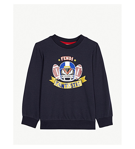 FENDI Monster print cotton-blend sweatshirt 4-14 years (Navy