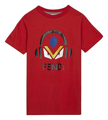 FENDI Monster headphone print cotton T-shirt 4-14 years (Red