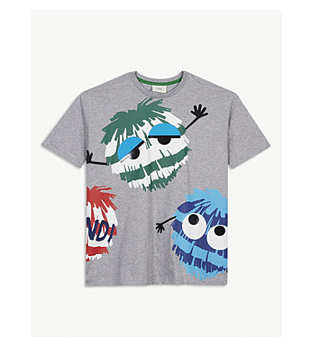 FENDI Bug print cotton T-shirt 4-14 years (Grey