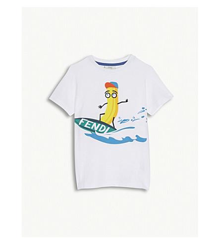 FENDI Surfing banana cotton T-shirt 4-12 years (White
