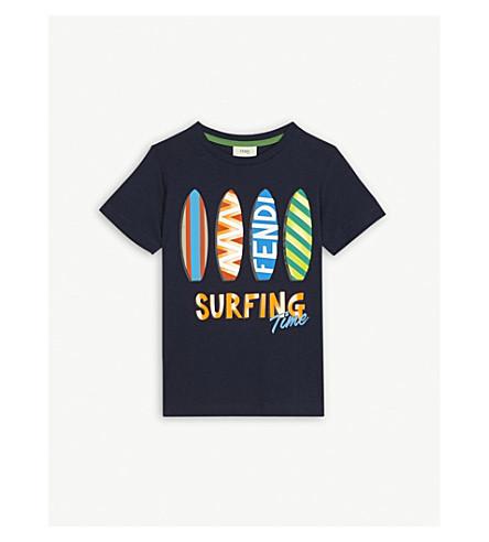 FENDI Surfboard cotton T-shirt 4-14 years (Navy
