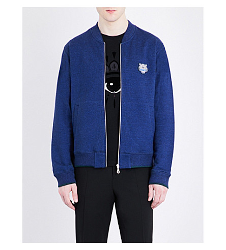 KENZO Logo-embroidered cotton-jersey jacket (Deep+sea+blue