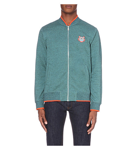 KENZO Logo-embroidered cotton-jersey jacket (Turquoise