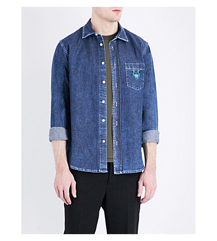 KENZO Embroidered tiger-motif denim shirt (Navy+blue