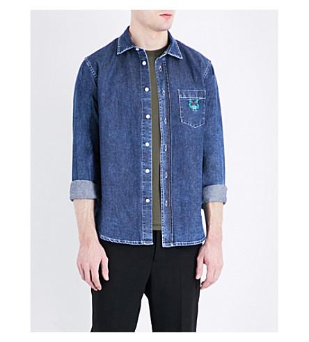 KENZO Embroidered tiger-motif denim shirt (Navy+blue