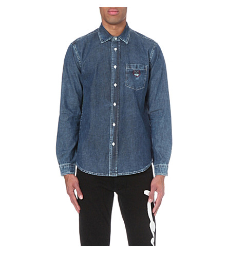 KENZO Embroidered tiger-motif denim shirt (Navy