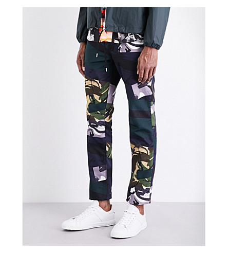 KENZO Broken camouflage-print K-fit cotton trousers (Midnight blue