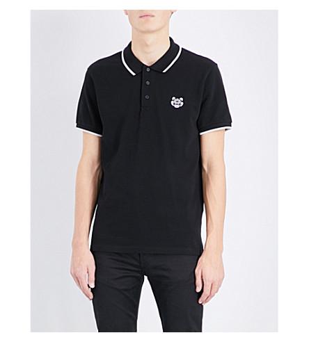 KENZO Embroidered cotton-piqué polo shirt (Black