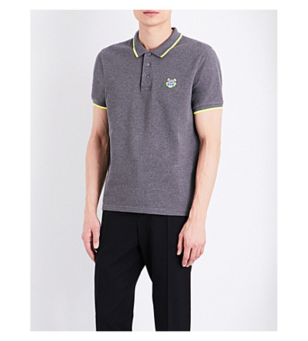 KENZO Embroidered cotton-piqué polo shirt (Dark+grey