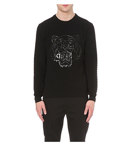 KENZO Tiger-print cotton jumper (Black