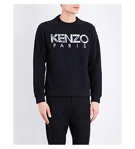 KENZO Logo-embroidered cotton sweatshirt (Black