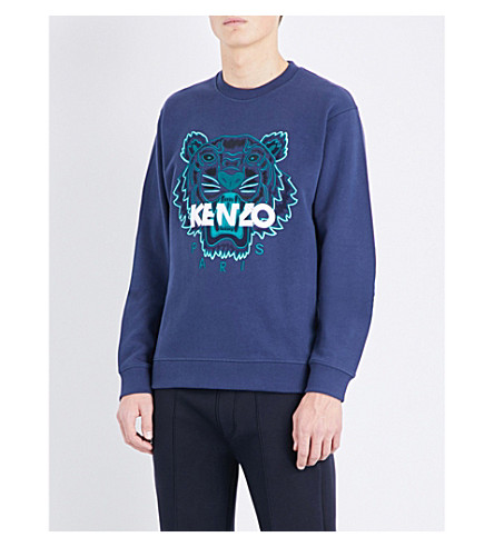 KENZO Tiger-embroidered cotton-jersey sweatshirt (Ink