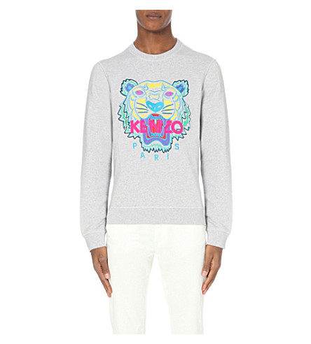 KENZO Tiger-embroidered cotton-jersey sweatshirt (Pale grey