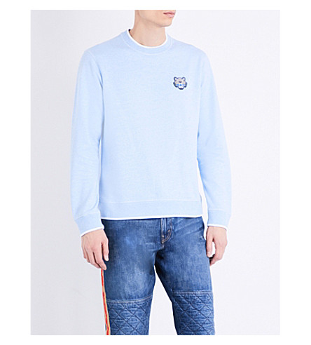 KENZO Logo-embroidered tipped cotton sweatshirt (Sky+blue