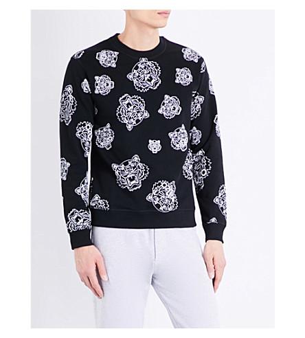 KENZO Tiger print cotton sweatshirt (Black