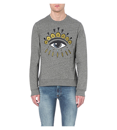KENZO Eye-print cotton-jersey sweatshirt (Anthracite