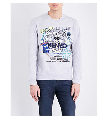KENZO Tiger-embroidered cotton sweatshirt (Pale+grey